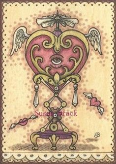 HEART'S DESIRE - I really enjoy creating Steampunk images.  Here's a Valentine Heart from last year.  Original Art By Susan Brack ACEO EBSQ