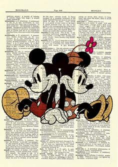 Classic Mickey & Minnie Mouse Upcycled Dictionary Art Print Poster - Trend Old Book Ideas 2019 Mickey Minnie Mouse, Mickey Mouse And Friends, Vintage Mickey Mouse, Vintage Disney Art, Art Disney, Punk Disney, Disney Fun, Disney Movies, Vintage Art