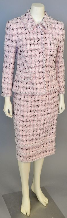 Lot 84: Escada two piece suit with pink, white and black novelty yarn/ tweed jacket and skirt with self fringe #Nadeausauction #Socialite #Luxury #Couture #Vintage #Fashion #Auction