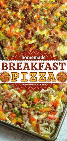 Breakfast Pizza, Breakfast Dishes, Breakfast Recipes, Breakfast Ideas, Homemade Breakfast, How To Make Breakfast, Seven Layer Salad, Easy Homemade Pizza, Egg Dish