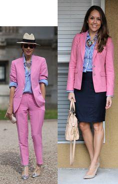 Navy skirt, blue/white top, pink blazer