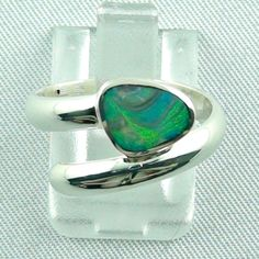 Sterling Silberring mit Top GEM Black Picture Opal 0,56 ct - Immer ein Unikat