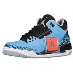 Order Air Jordan 3 Retro Dark Powder Blue/Black-Wolf Grey-White 2014 Price: $109.90  http://www.theblueretros.com/