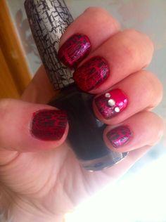 Nails pink, black OPI crackle and jewels