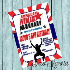 American Ninja Warrior Printable Invitation by 3SweetMemories