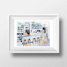 Wall Art aquarel Luke's Diner interieur Print door WatercolorWall
