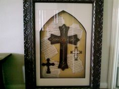 Shadowbox Art pieces with Metal crosses.