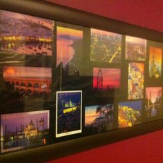 I travelled around Europe and collected a postcard from each place in a similar color theme! Best souvenir idea that doesn't take up room in your case... Framed it and now my memories are placed on my bedroom wall, it's the favorite thing in my house