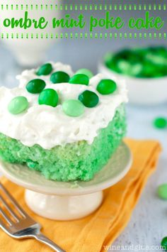 Ombre Mint Poke Cake | www.wineandglue.com |  Ombre green and flavored with delicious mint! #desserts #dessertrecipes #yummy #delicious #food #sweet
