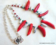 Southwest style necklace red coral turquoise by EyeCandybyCathy, $69.50