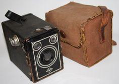 Vintage Box Camera Agfa Original Canvas Etui Black Silver Color Photography