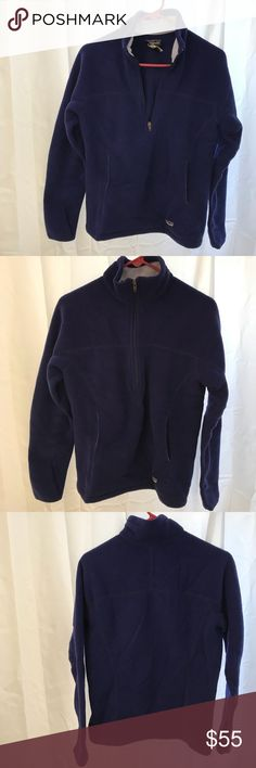 Patagonia    Synchilla Fleece Super soft and warm Patagonia fleece. Kangaroo pocket and a longer quarter zip. Retro style. Gorgeous purple blue color. Perfect for cold winter activities or lounging on a chilly day! Too small for me, so hopefully someone else will love it as much as I did! Patagonia Tops Sweatshirts & Hoodies