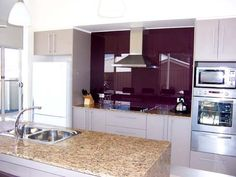 purple splashback kitchen