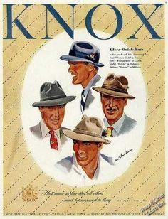 vintage mens fashion ads | 1947 Knox Glove-finish Mens Hats Vintage Fashion Ad