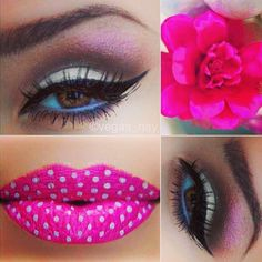 Gorgeous Winged Eyeliner n polka dotted lips... Cute