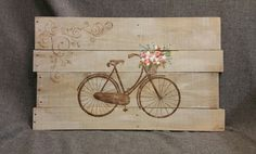 Pallet Art, Farmhouse decor, Antique bike, spring flowers, flower basket, earthtones, Rustic shabby, Reclaimed pallet wood This is the main design for the Spring FARMHOUSE Collection that was special ordered in tans and browns. This earth-toned piece would be a great, personal touch to your Spring and Summer decor in your home or at your cottage. **This is the original pictured. Your Purchased picture would be painted 10-14 days after order. Note that wood characteristics are unique to…