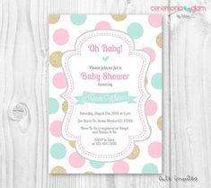 Baby shower girl invitation polka dot gold pink by ceremoniaGlam