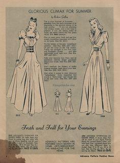 August 1939 Advance Pattern Fashion News | VintageStitches.com