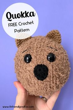 Free fuzzy yarn crochet pattern. This pattern is great for learning with fuzzy yarn. It comes together fast and leaves you with a cute soft Quokka amigurumi! Crochet Animal Patterns, Stuffed Animal Patterns, Crochet Animals, Cute Crochet, Crochet Yarn, Quokka, Things To Come, Teddy Bear, Leaves