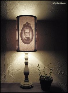 Frankenstein's Bride lamp shade Lampshade  by SpookyShades on Etsy, €45.00