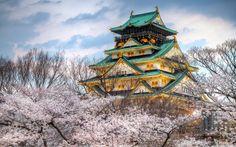 Osaka Castle Spring HD desktop wallpaper : Widescreen : High
