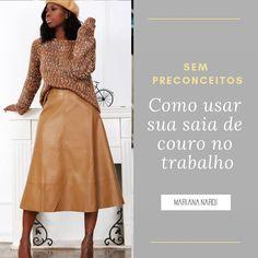 Que tal ousar um pouco essa semana e apostar na sua saia de couro para o trabalho? Claro, que a saia deve ser coerente com o dresscode da… Instagram, Skirt, Mariana, Leather, Tall Clothing
