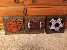 Sports ball string art- you can choose from a baseball, soccer ball, football, or basketball! Size is about 11 square, and you may choose the wood
