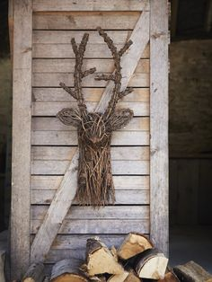 Twig deer head, crafted from red pine branches and pine cones