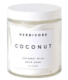 Herbivore Botanicals Coconut Milk Bath Soak Natürlicher Badezusatz mit Vanille und Kokosnuss.