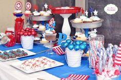Creative ideas for a Captain America Birthday party! snacks, drinks and sweets with red, white and blue super hero