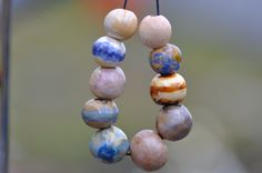 10 art beads ceramic components art components for jewelry
