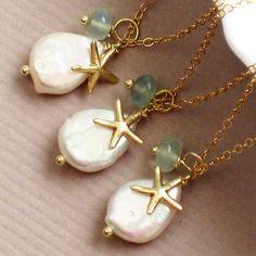 Bridesmaid Gift Set, 3 Starfish Necklaces, White Coin Pearl, Chalcedony & Starfish Charm, Gold fill, Sea Star, Beach Wedding, Summer Weddin