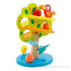 The apples roll, fall and disappear on one side of the tree to reappear on the other. This game develops the child's manual and visual coordination.  Suitable From   18+ months Dimensions   19 x 23 x 33cm Brand   Djeco Product Code   DJ06390 Barcode   3070900063907