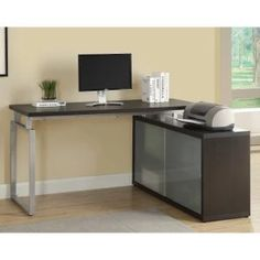Monarch Hollow-Core L-Shaped Desk with Frosted Glass - Desks at Hayneedle; 60x47