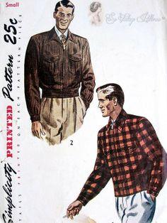 Butterick 6658 1950s Mens Zip Front Bomber Lumber Jacket Pattern ...