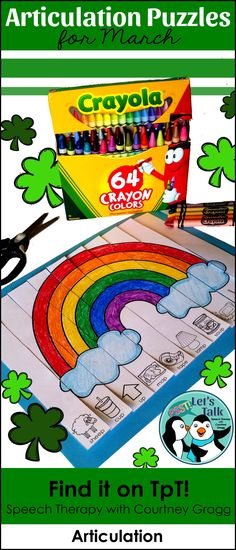 Puzzle strips for March/ St. Patrick's Day speech therapy.