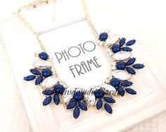 Navy Blue - Marquess Fleur Bib Statement Necklace on Etsy, $15.00