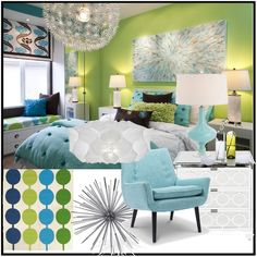 aqua and apple green, need some of this for my room!