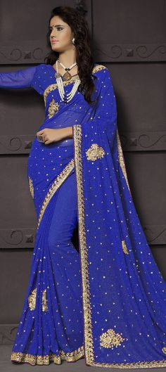 186377: Blue color family Bridal Wedding Sarees with matching unstitched blouse.