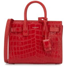 Saint Laurent Sac de Jour Nano Croc-Embossed Satchel Bag ($2,455) ❤ liked on Polyvore featuring bags, handbags, saint laurent, ysl, red, leather tote bags, red leather tote, red leather purse, leather satchel and leather satchel purse
