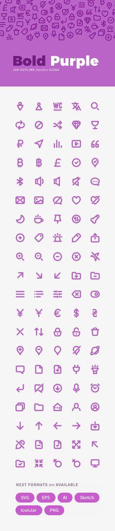 100 Bold Purple Line Icons