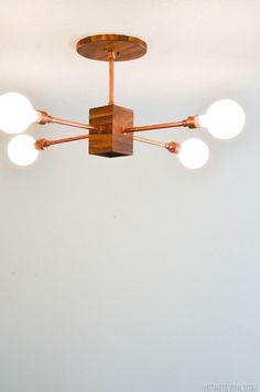 Bricolaje madera y cobre Lámpara moderna-27