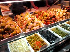 Stunning olives at Mercado de San Miguel market in Madrod : A Foodie's guide to Spain - Madrid, Toledo & Seville