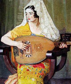 Emily Hilda Rix Nicholas (Australian, 1884-1961) - Spanish Lady with Lute
