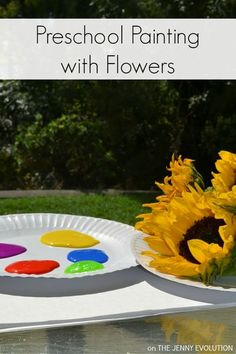 Preschool Painting with Flowers - a fun twist to painting!