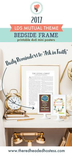2017 LDS youth theme:  Ask of God in Faith (James 1:5-6) - these framed prints are perfect for the young women to keep by their beds!