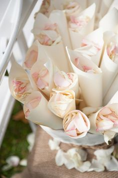 What a romantic & soft send-off idea! Pink rose petals! {Rachel Robertson Photography}