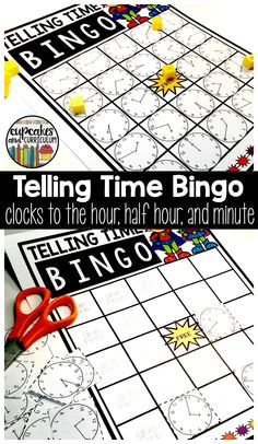 Telling Time Bingo - A fun and engaging game for your students to practice telling time to the nearest hour, half hour, and minute!