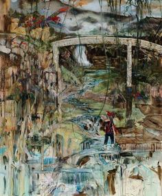 "Hernan BAS ""Birds Suddenly Appear"" 2008. Acrylic on linen over panel / Acrylique sur toile sur panneau 72 x 60 inches / 183 x 152,5 cm"