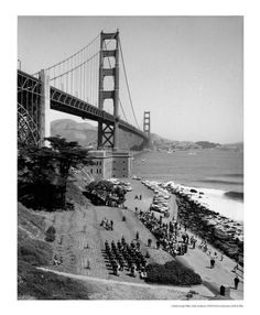 View from a hill of the Dedication of Fort Point to the NPS, 1966 Places In California, Vintage California, Fort Point, Amazing Photography, White Photography, San Francisco California, Golden Gate Bridge, Bay Area, Beautiful Landscapes